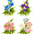Four sets of blooming flowers — Stock Vector #60429491