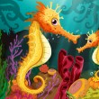 Two seahorses under the sea — Stock Vector #60429585