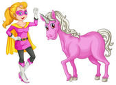A female hero and a horse — Stock Vector