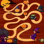 A halloween maze game — Stock Vector