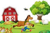 Farmer and horse — Stock Vector