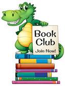 Books and crocodile — Stock Vector