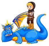 A boy taming the dragon — Stock Vector