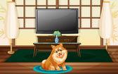 A cute dog inside the house — Stock Vector