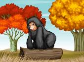A gorilla at the forest — Stock Vector