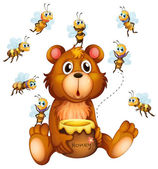 Bear and bees — Stock Vector