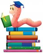 Book and worm — Stock Vector