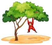 A gorilla hanging under the tree — Stock Vector