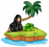 A gorilla in the island — Stock Vector