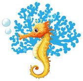 A seahorse underwater — Stock Vector