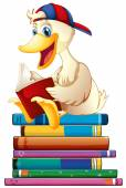 Duck and books — Stock Vector