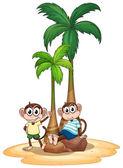 Monkey and tree — Stock Vector
