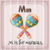 A letter M for maracas — Stock Vector