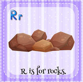 A letter R for rocks — Stock Vector