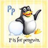 A letter P for penguin — Stock Vector