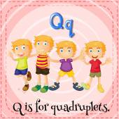 A letter Q for quadruplets — Stock Vector