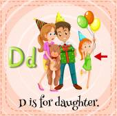 A letter D for daughter — Stock Vector