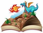 Book and a dragon — Stock Vector