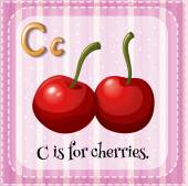 A letter C for cherries — Stock Vector