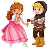 принцесса и рыцарь — Cтоковый вектор