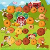 Boardgame with farm scene — Stock Vector