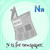 A letter N for newspaper — 图库矢量图片