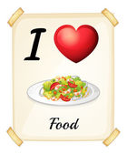 A flashcard showing the love of foods — Stock Vector