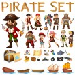Pirate set — Stock Vector #65413923