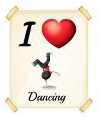 Me encanta bailar — Vector de stock