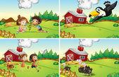 Farm scene — Vettoriale Stock
