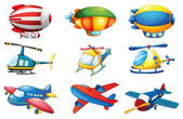 Planes and Balloons — Stock Vector