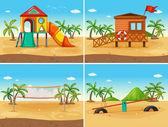 Beach and playground — Stock Vector
