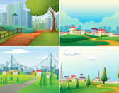Cities and parks — Stock Vector