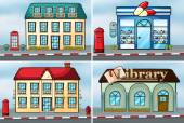 Houses and shops — Stock Vector