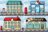 Huizen en winkels — Stockvector