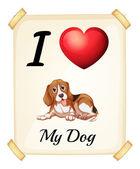 Köpeğimi seviyorum — Stok Vektör