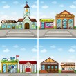 Buildings and stores in the town — Stock Vector #67127613