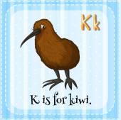 Alphabet K ist für kiwi — Stockvektor