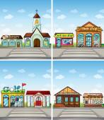 Buildings and stores in the town — Stock Vector