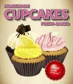Homemade cupcake with three — Stock Vector