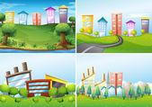 Town scenes — Stock Vector