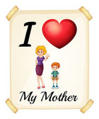 I love my mother — Stock Vector