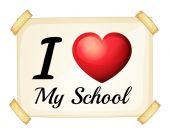 Me encanta mi escuela — Vector de stock