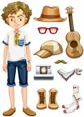 Hipster and items — Stock Vector