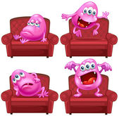 Monster and chair — Stock Vector