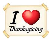 I love Thanksgiving — Stock Vector