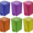 Six different colors of trashcan — Cтоковый вектор #69463525