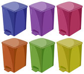Six different colors of trashcan — Stock Vector