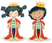 Children dressing up as king — Stock Vector