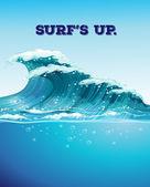 Surf y olas — Vector de stock